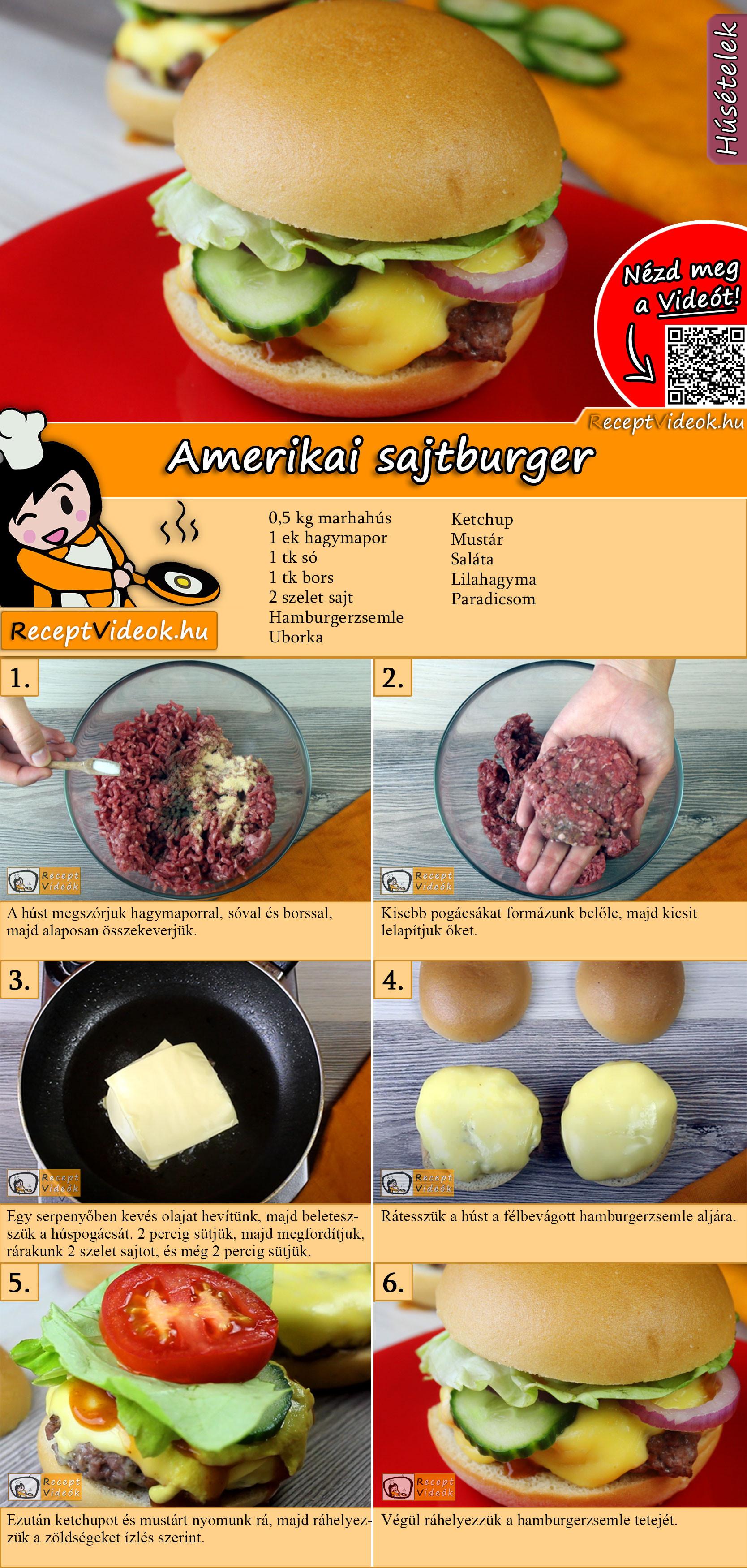 Amerikai sajtburger recept elkészítése videóval