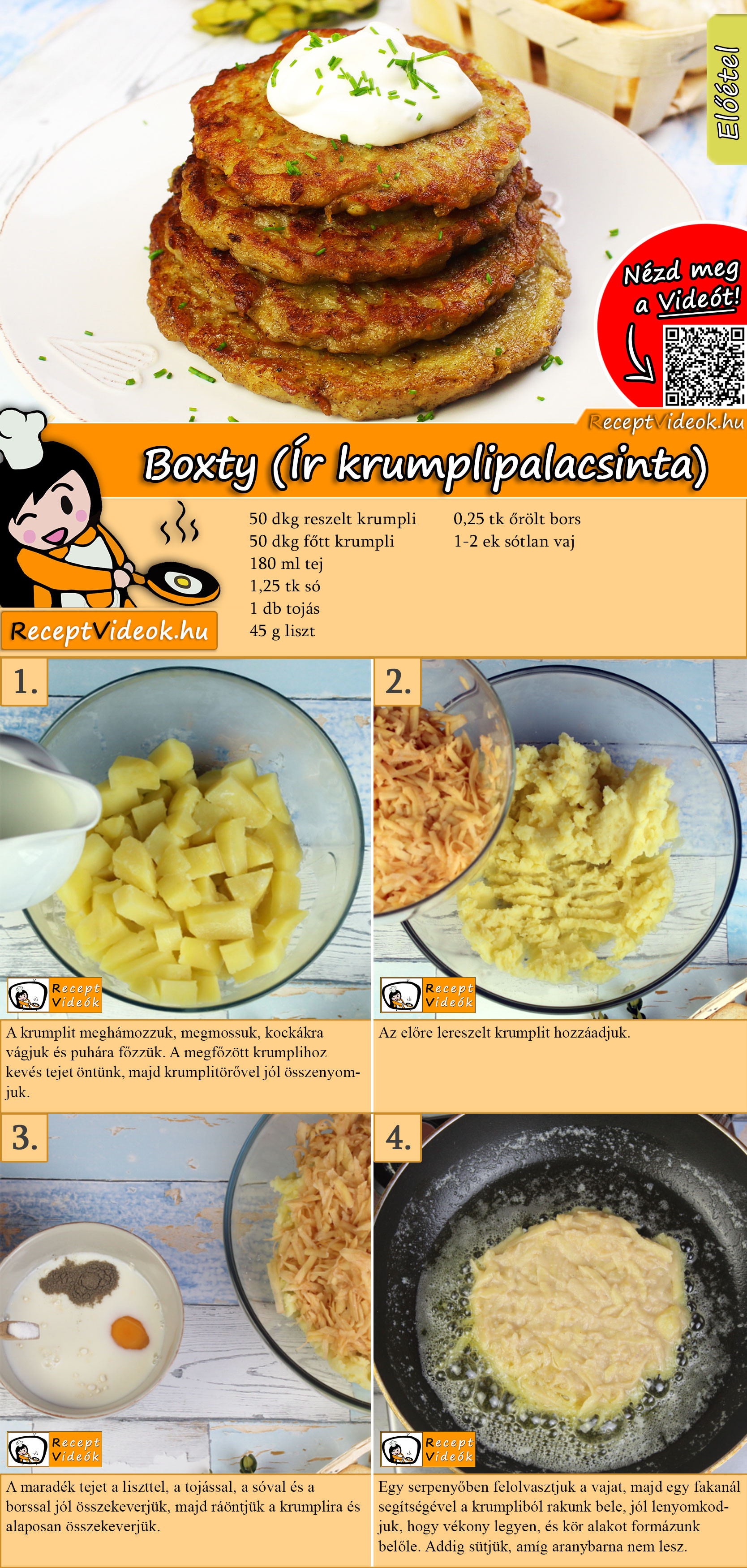 Boxty (Ír krumplipalacsinta) recept elkészítése videóval