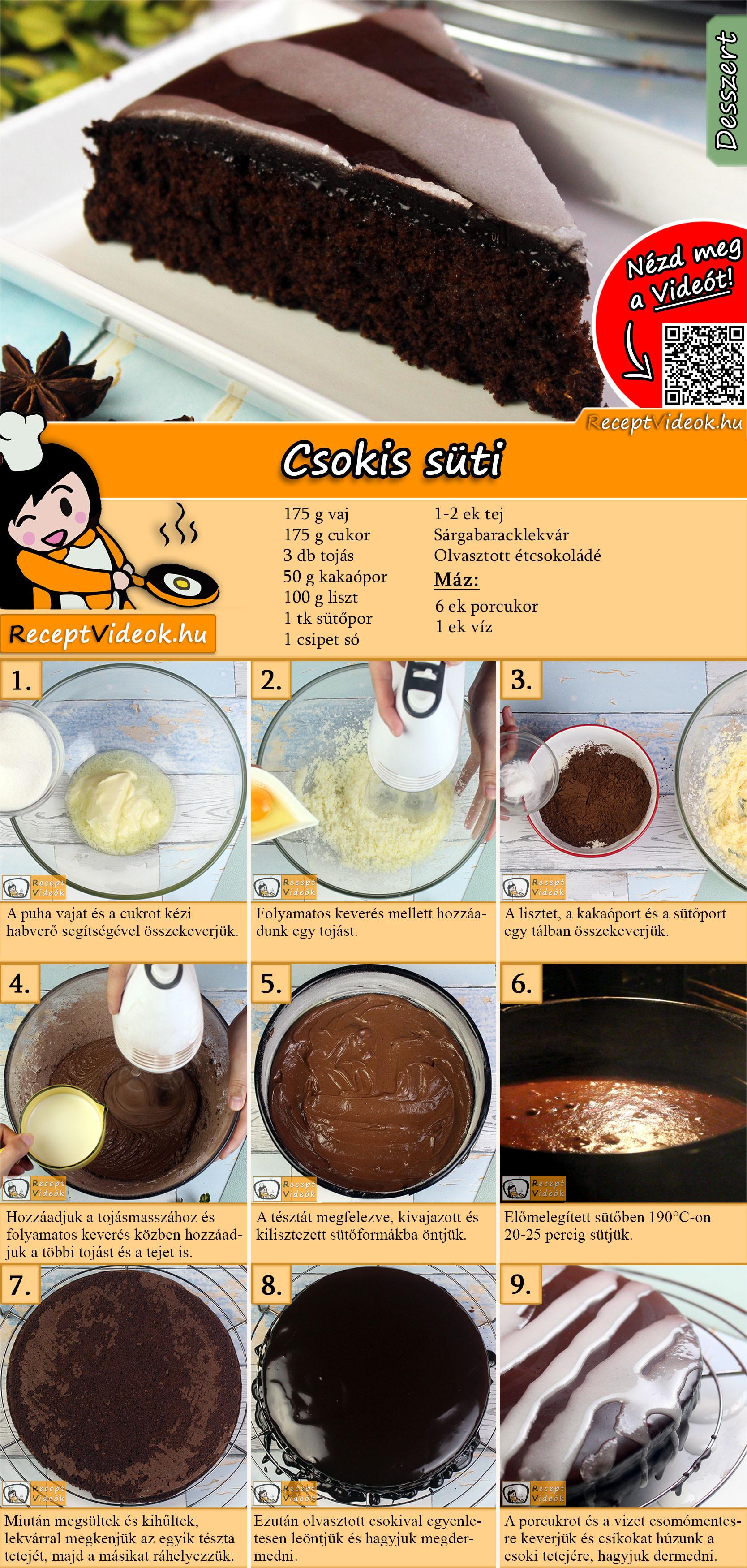 Csokis süti recept elkészítése videóval