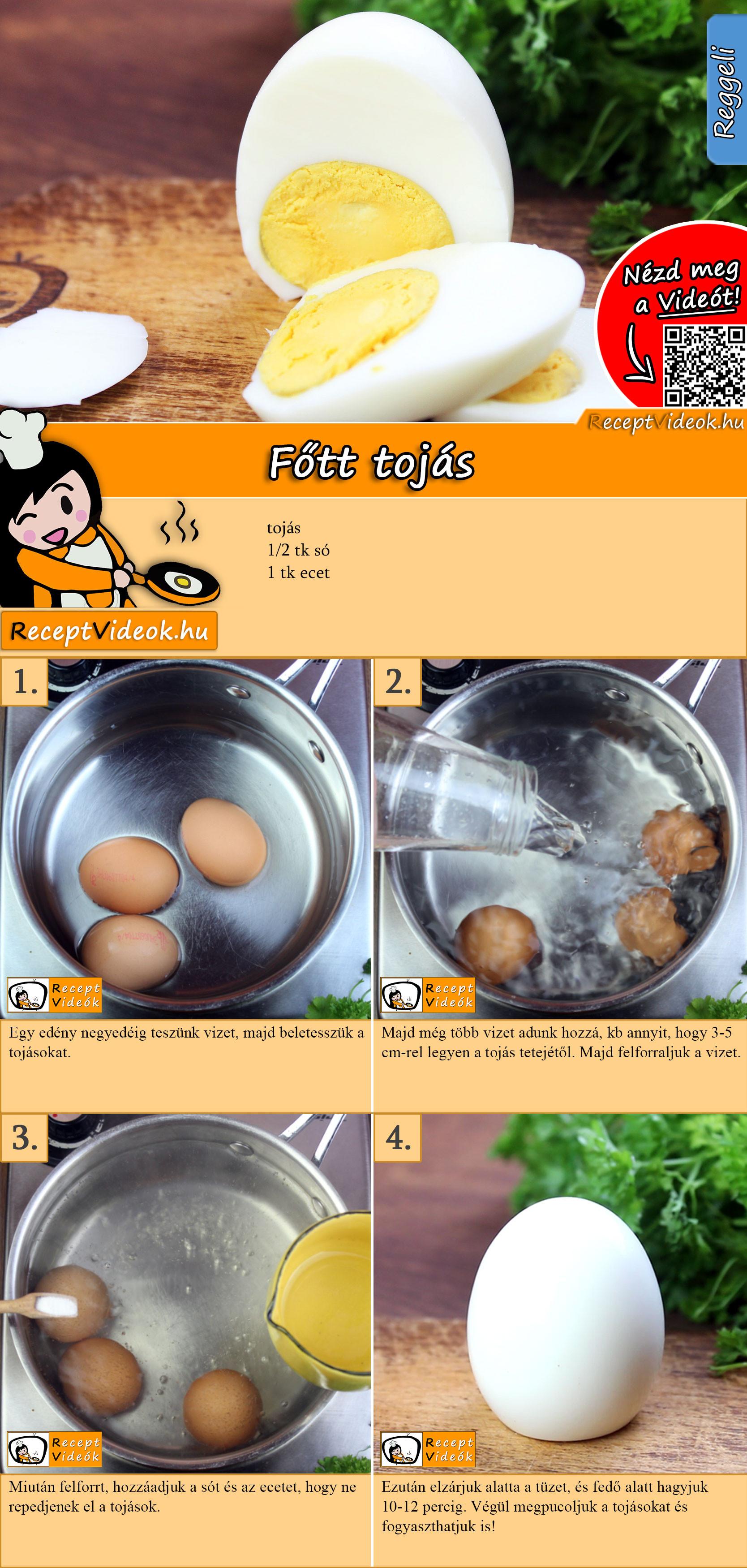 Főtt tojás recept elkészítése videóval