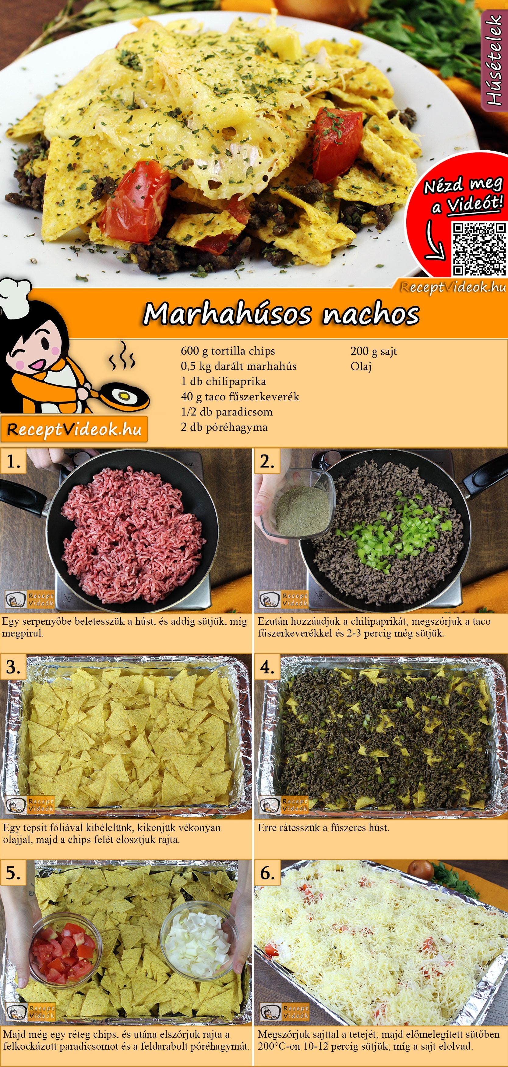 Marhahúsos nachos recept elkészítése videóval