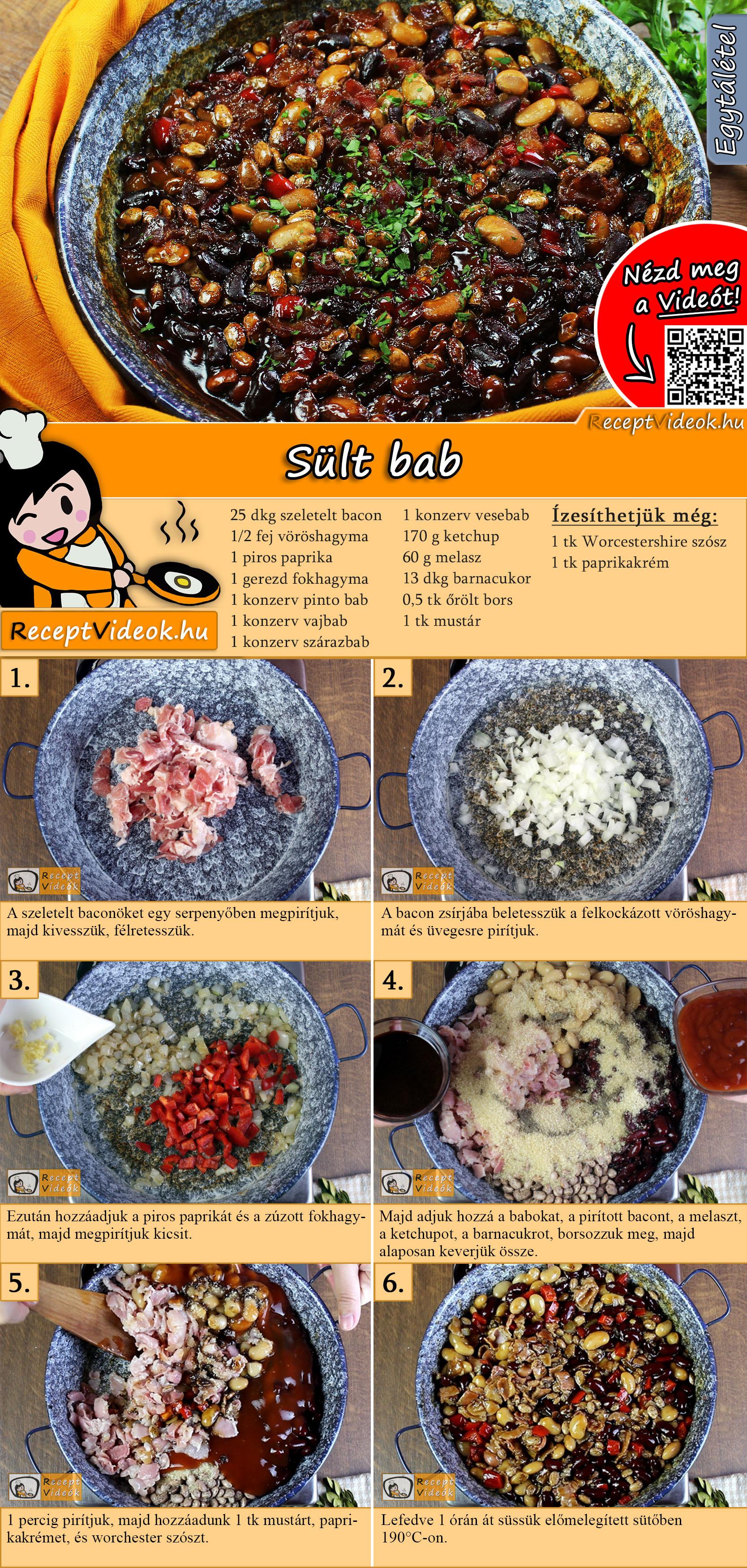 Sült bab recept elkészítése videóval