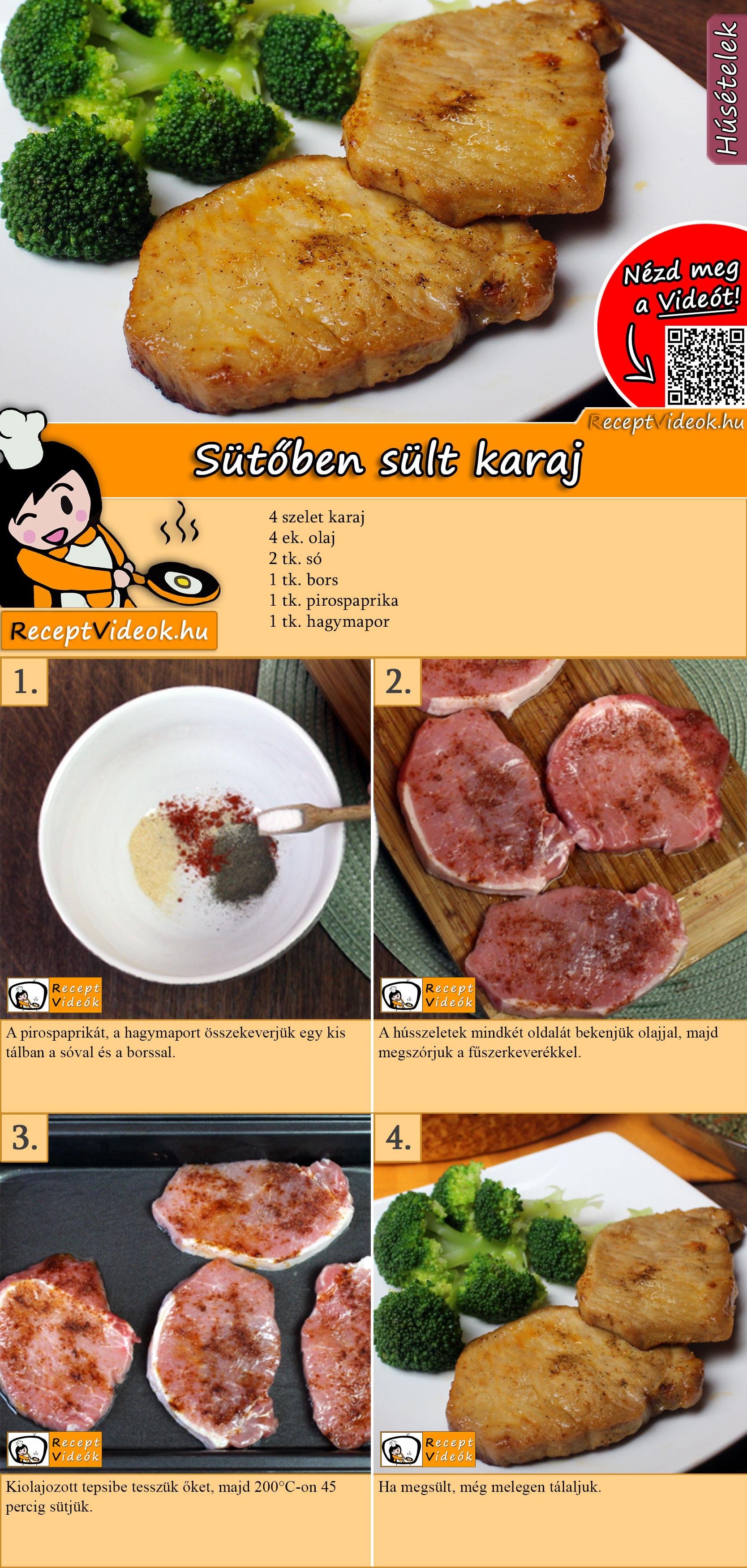 Sütőben sült karaj recept elkészítése videóval