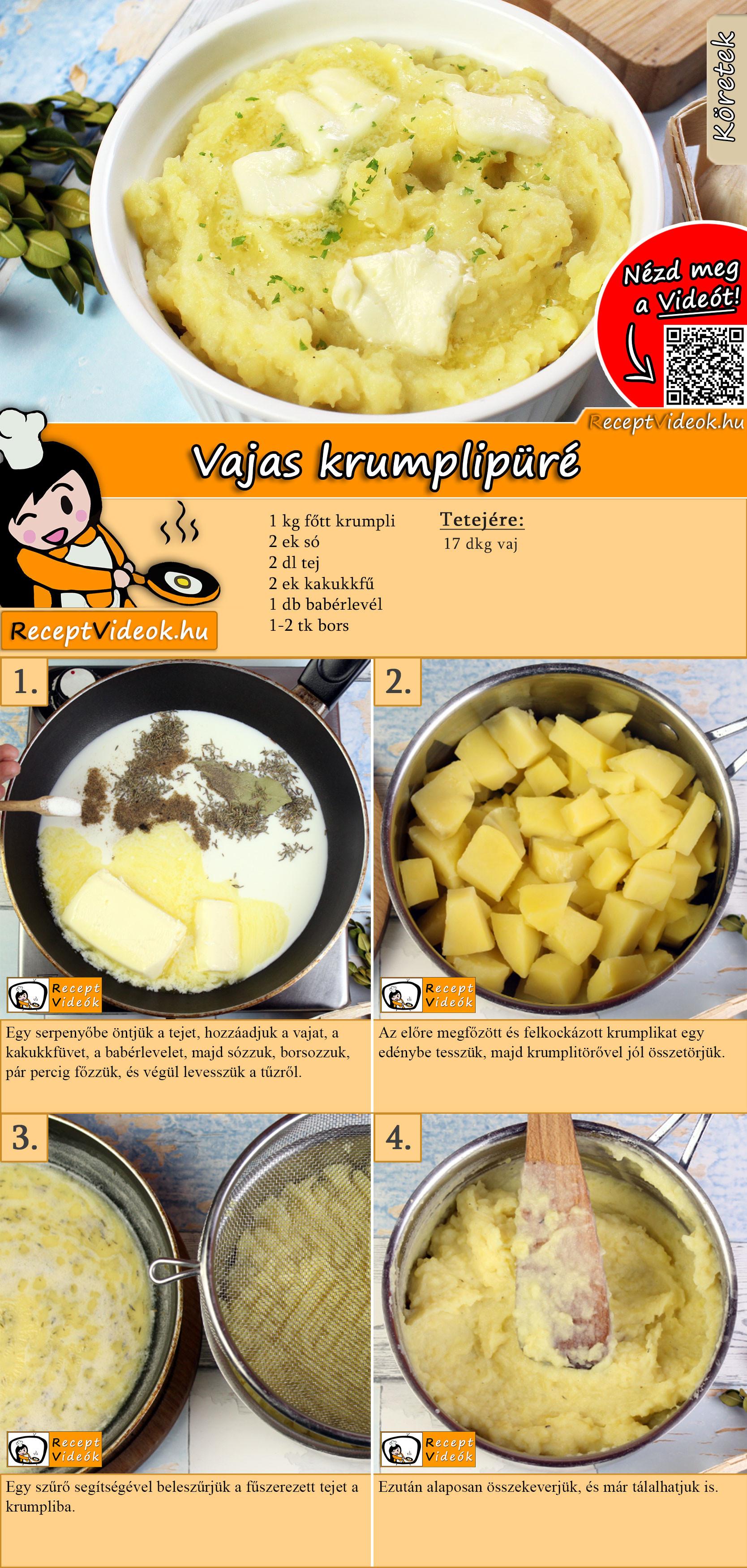 Vajas krumplipüré recept elkészítése videóval