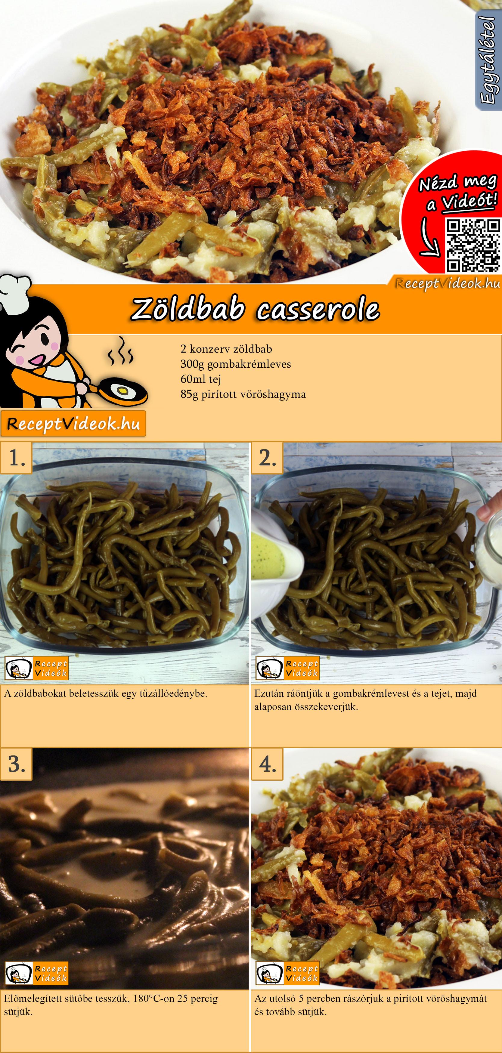 Zöldbab casserole recept elkészítése videóval