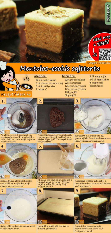 Mentolos-csokis sajttorta recept elkészítése videóval