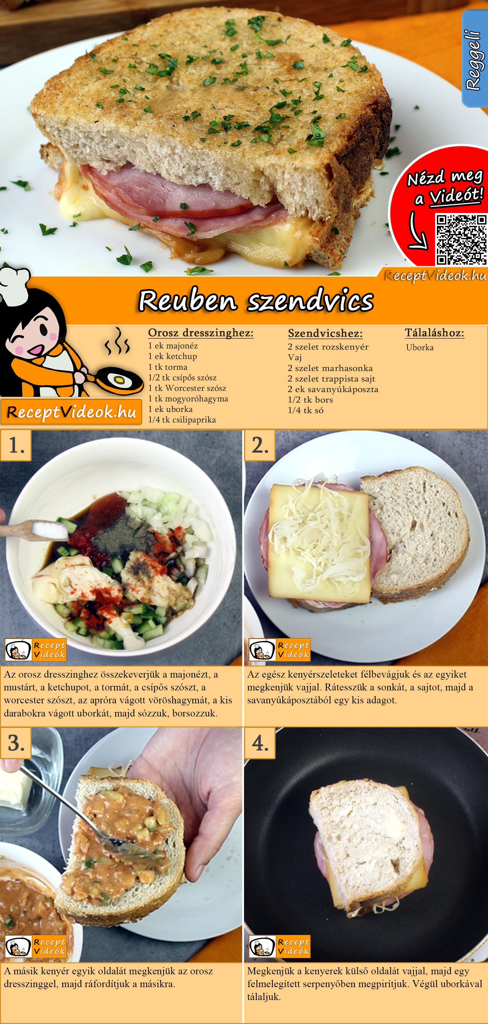 Reuben szendvics recept elkészítése videóval