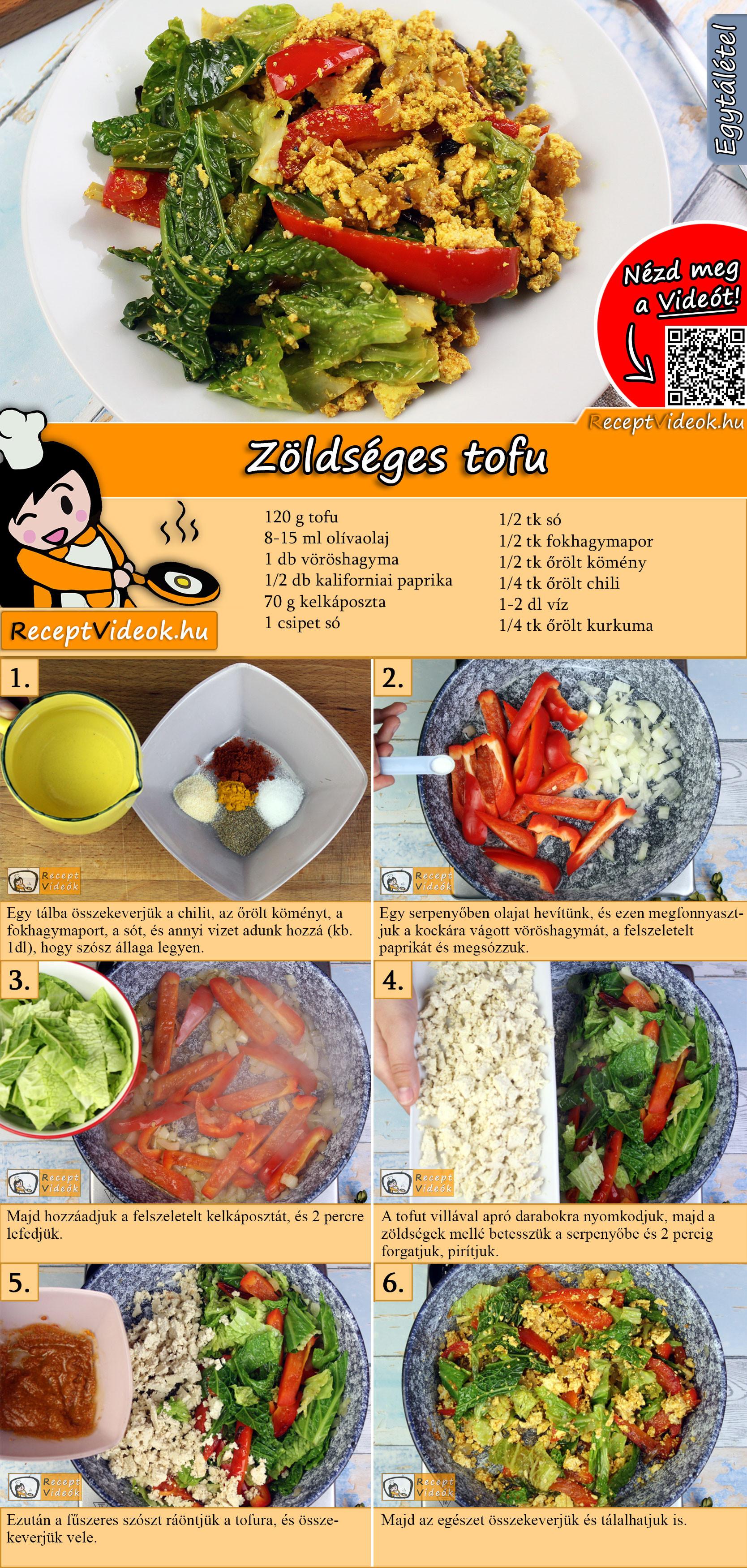 Zöldséges tofu recept elkészítése videóval