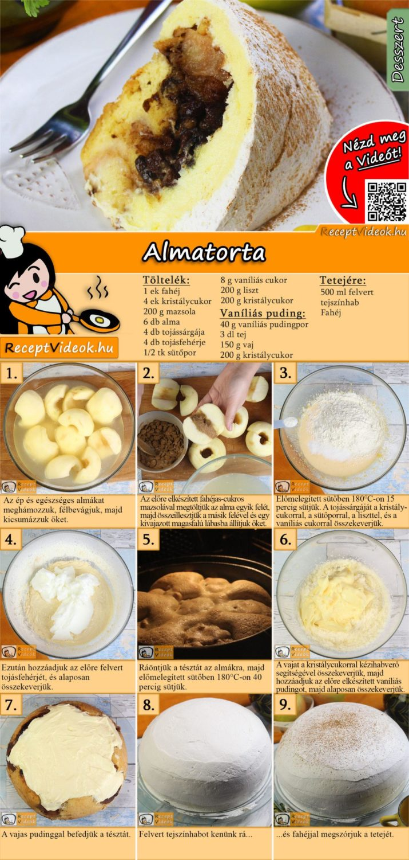 Almatorta recept elkészítése videóval