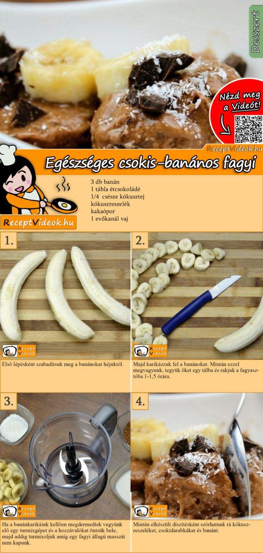 Egészséges csokis-banános fagyi recept elkészítése videóval