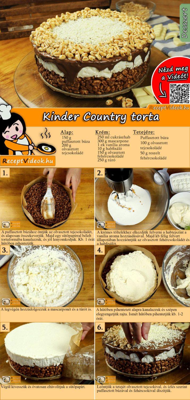 Kinder Country torta recept elkészítése videóval