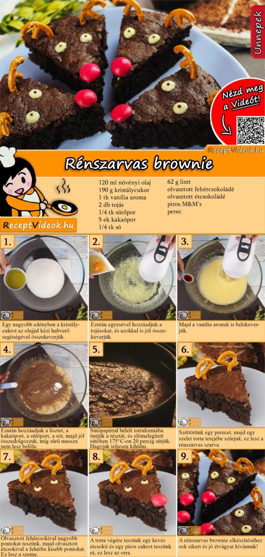 Rénszarvas brownie recept elkészítése videóval