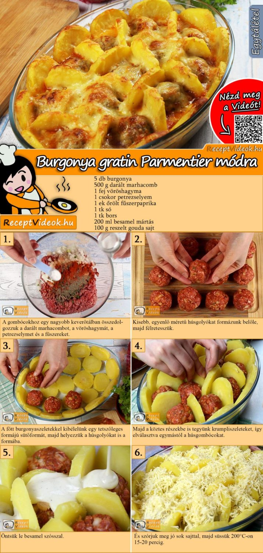 Burgonya gratin Parmentier módra recept elkészítése videóval