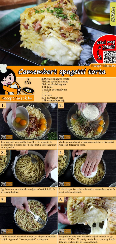 Camembert spagetti torta recept elkészítése videóval