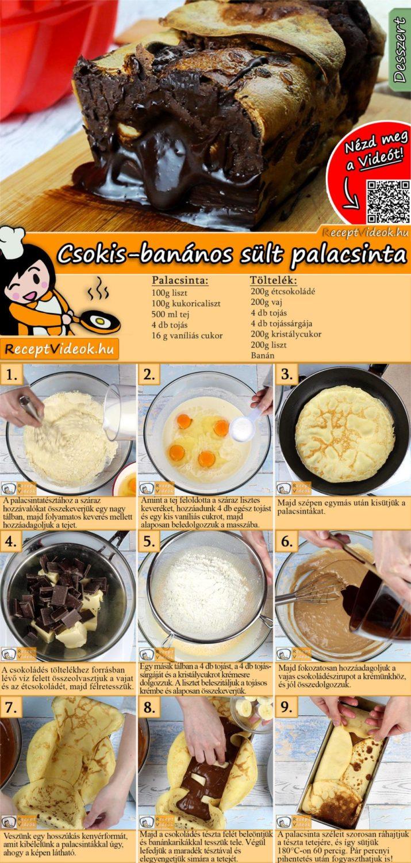 Csokis-banános sült palacsinta recept elkészítése videóval
