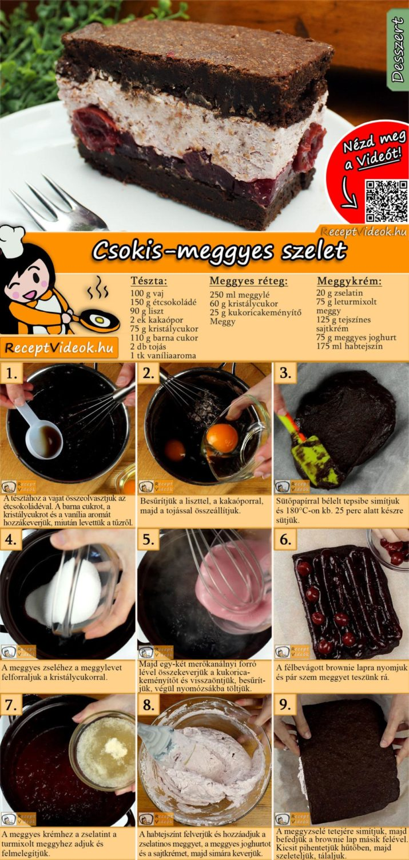 Csokis-meggyes szelet recept elkészítése videóval