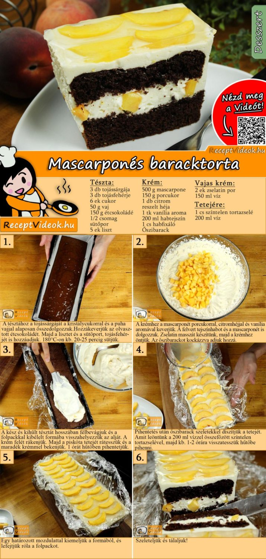 Mascarponés baracktorta recept elkészítése videóval