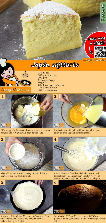 Japán sajttorta recept elkészítése videóval
