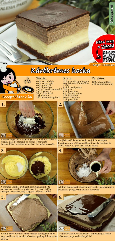 Kávékrémes kocka recept elkészítése videóval