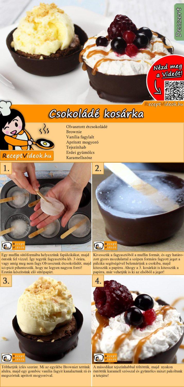 Csokoládé kosárka recept elkészítése videóval