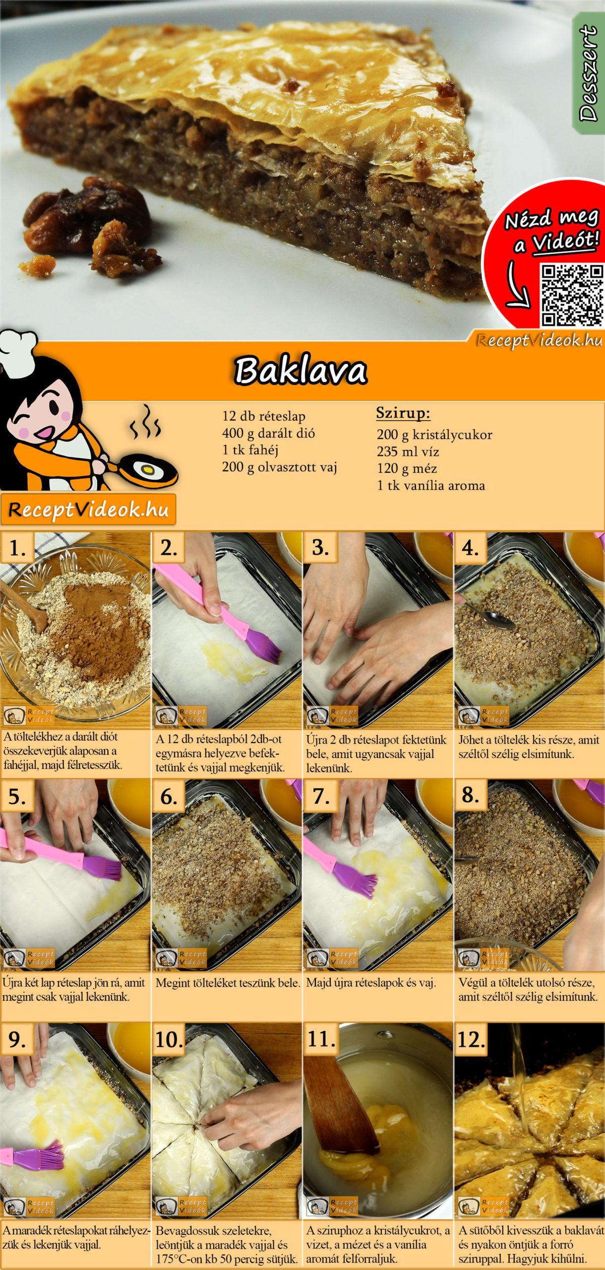 Baklava recept elkészítése videóval