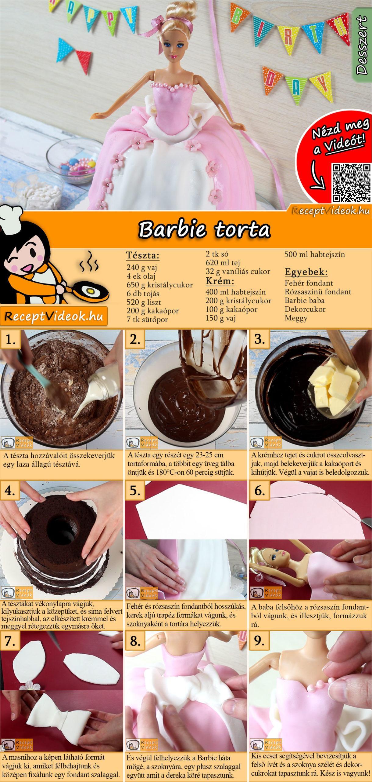 Barbie torta recept elkészítése videóval