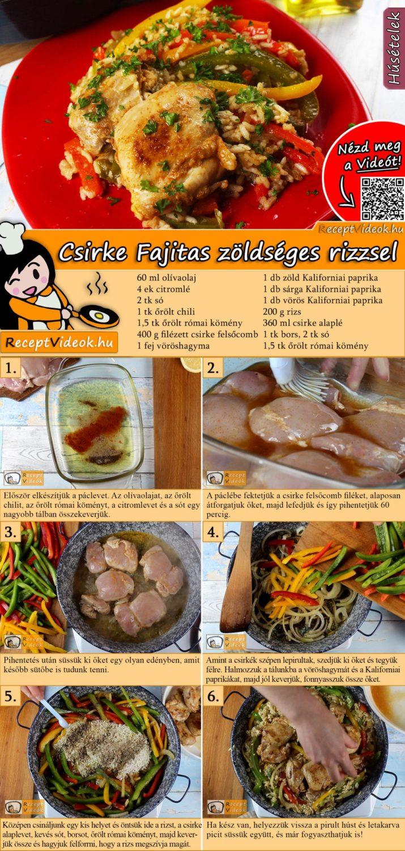 Csirke Fajitas zöldséges rizzsel recept elkészítése videóval