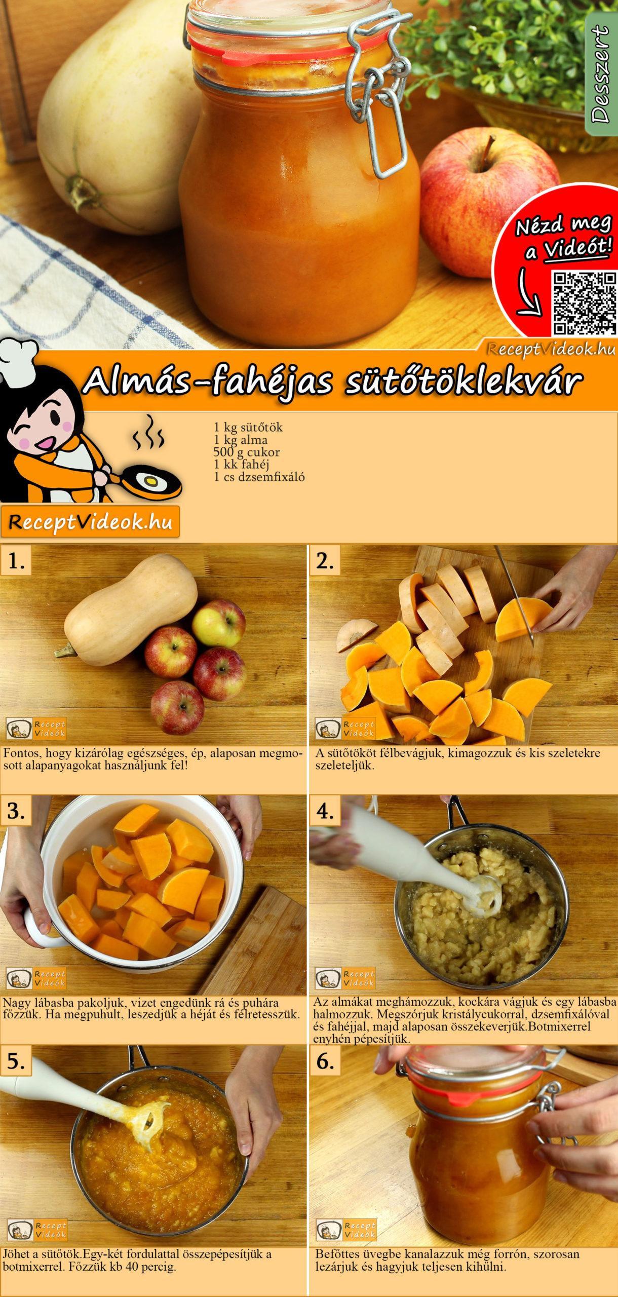 Almás-fahéjas sütőtöklekvár recept elkészitése videóval