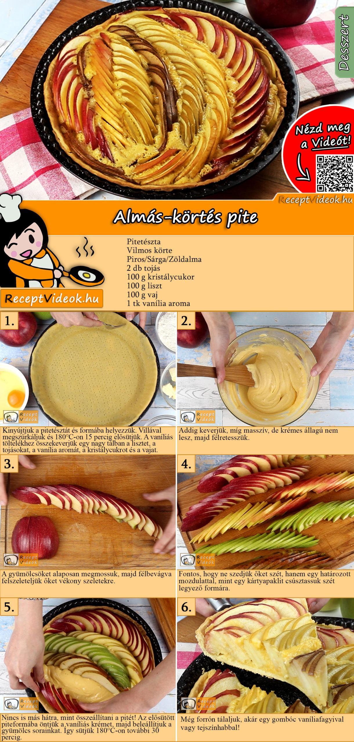 Almás-körtés pite recept elkészítése videóval