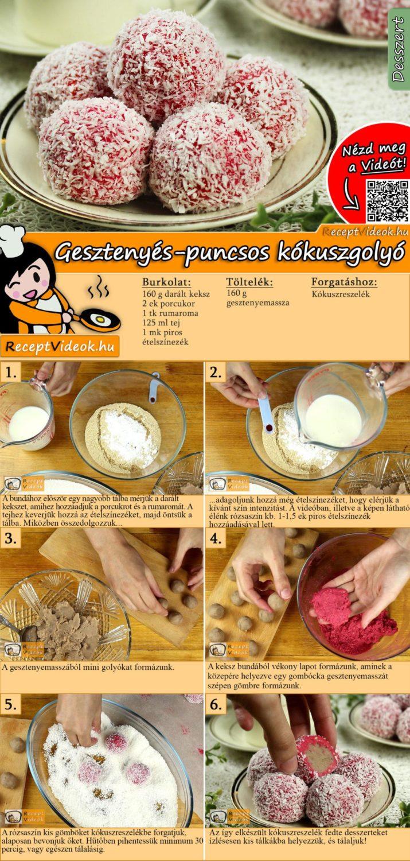 Gesztenyés-puncsos kókuszgolyó recept elkészítése videóval