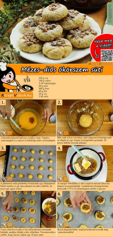 Mézes-diós ökörszem süti recept elkészítése videóval