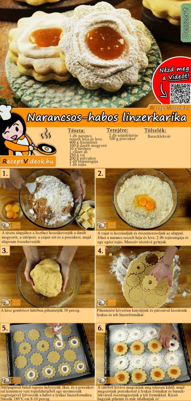 Narancsos-habos linzerkarika recept elkészítése videóval