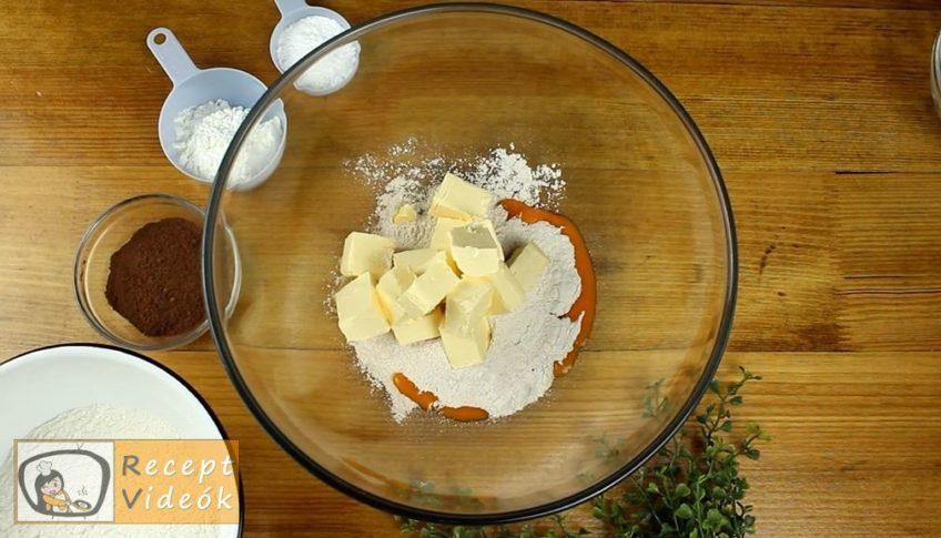 Kakaós-diós boszorkánypogácsa vaníliakrémmel recept, Kakaós-diós boszorkánypogácsa vaníliakrémmel elkészítése 1. lépés
