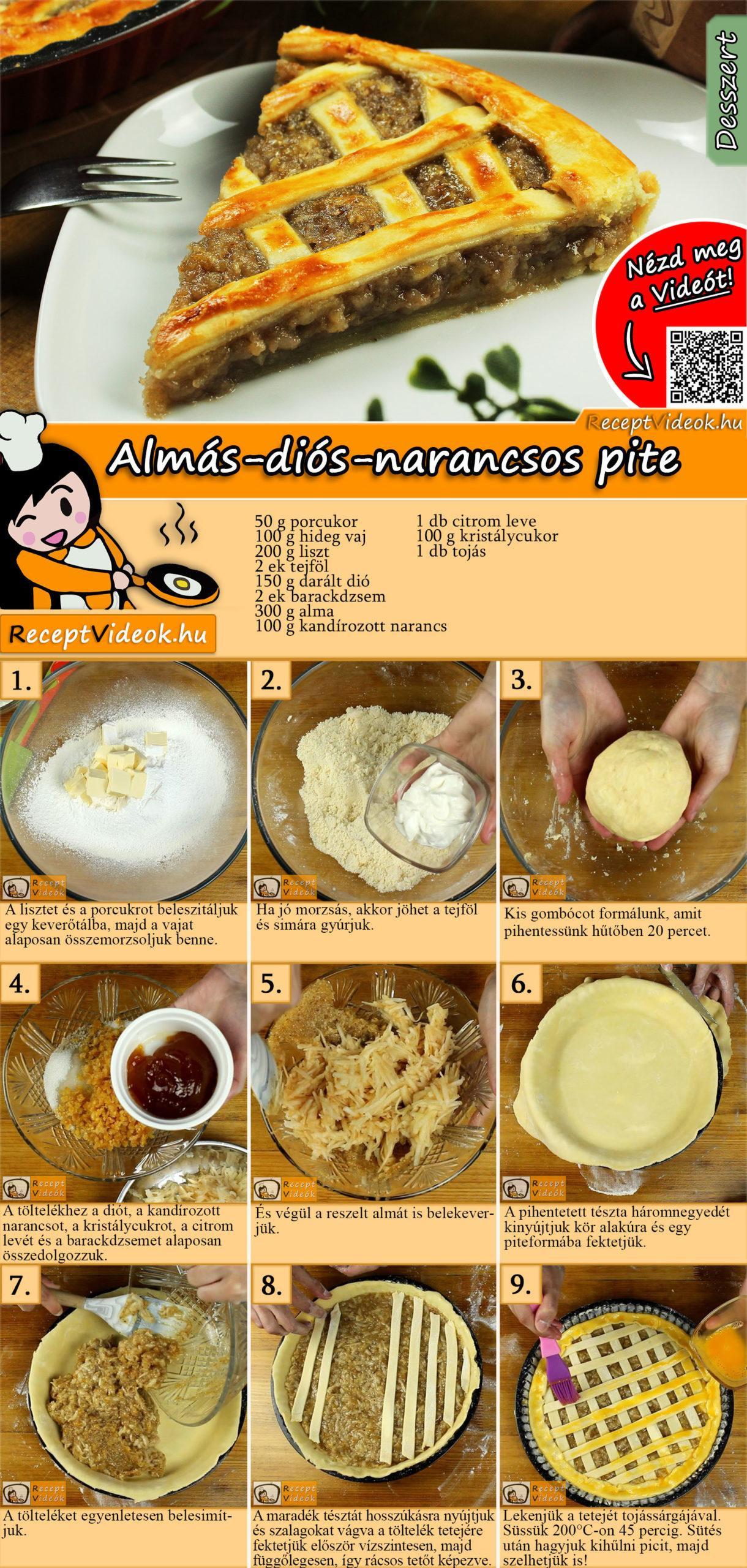 Almás-diós-narancsos pite recept elkészitése videóval