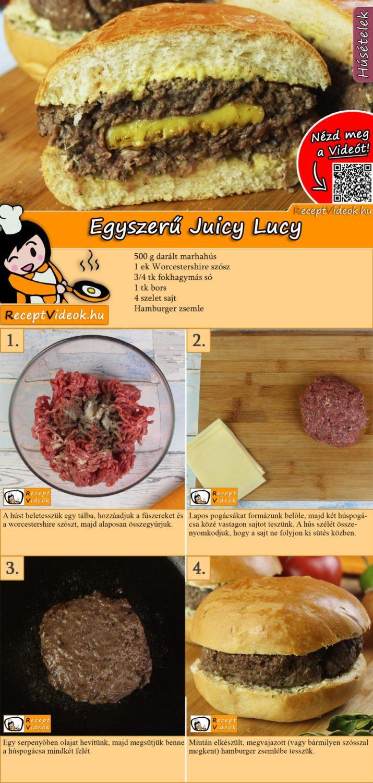 Egyszerű Juicy Lucy recept elkészítése videóval