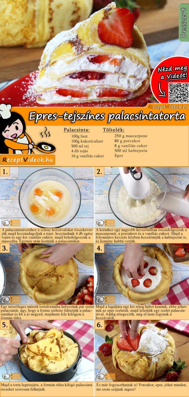 Epres-tejszínes palacsintatorta recept elkészítése videóval
