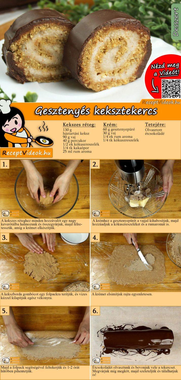 Gesztenyés keksztekercs recept elkészítése videóval