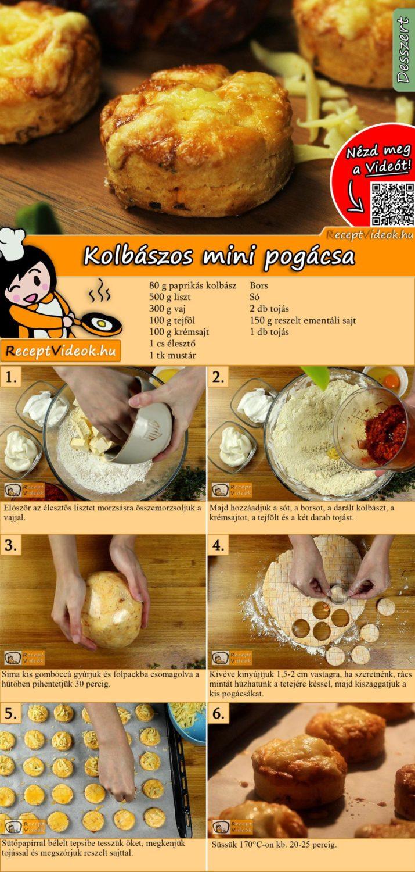 Kolbászos mini pogácsa recept elkészítése videóval