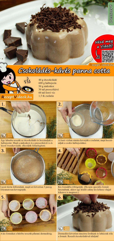Csokoládés-kávés panna cotta recept elkészítése videóval